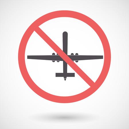 Illustration d'un signal interdit isolé avec un drone de guerre Banque d'images - 78742130