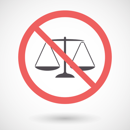 Illustration of an isolated forbidden signal with a justice weight scale sign Illustration