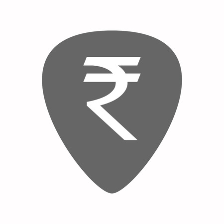 plectrum: Illustration of an isolated guitar plectrum with a rupee sign