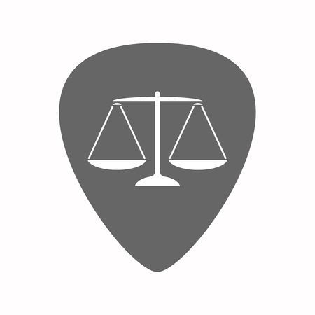justice scale: Illustration of an isolated guitar plectrum with a justice weight scale sign