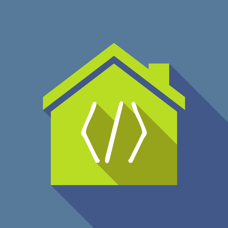 css: Illustration of a long shadow flat design house with a code sign Illustration