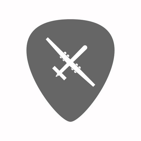 Illustration d'un médiator de guitare isolé avec un drone de guerre Banque d'images - 78742206
