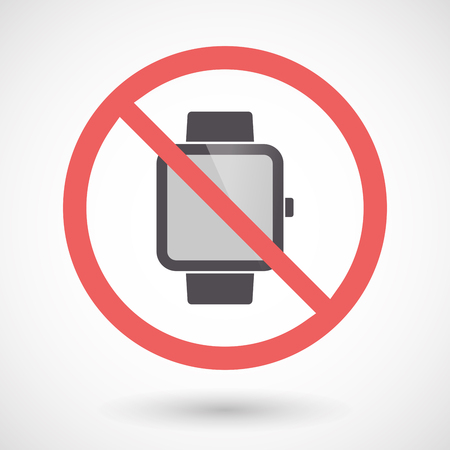 Illustration of an isolated forbidden signal with a smart watch Illustration