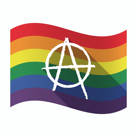 Illustration of an isolated waving Gay Pride flag with an anarchy sign Illustration