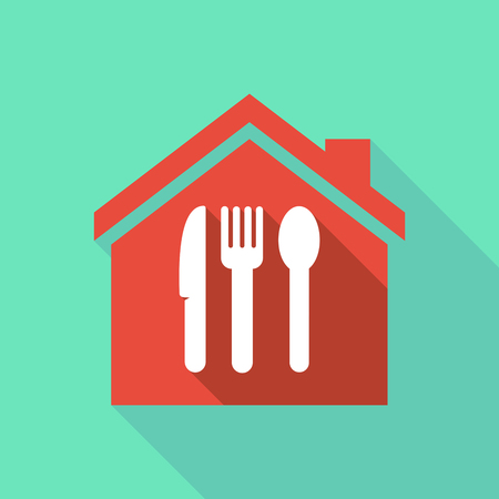 house construction: Illustration of a long shadow flat design house with cutlery