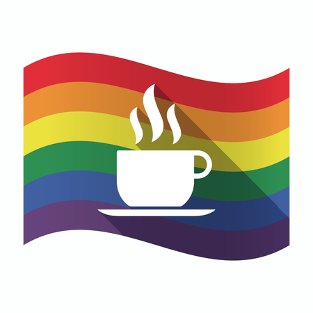 sexual orientation: Illustration of an isolated waving Gay Pride flag with a cup of coffee