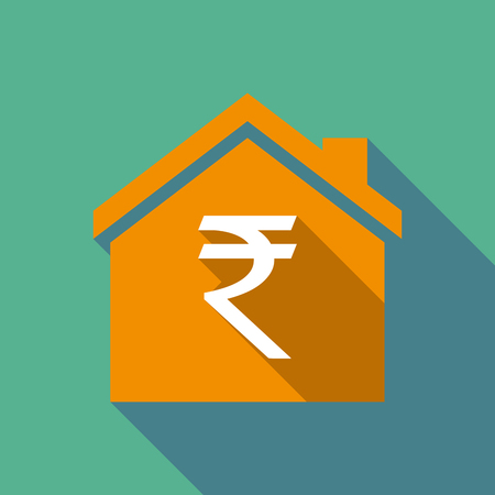 house construction: Illustration of a long shadow flat design house with a rupee sign