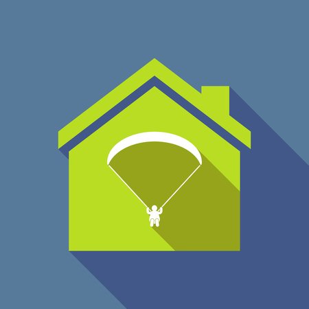 Illustration of a long shadow flat design house with a paraglider Illustration