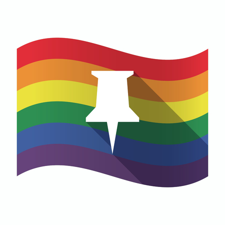 tack: Illustration of an isolated waving Gay Pride flag with a push pin