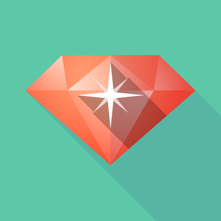 gemstone: Illustration of a long shadow diamond with a sparkle