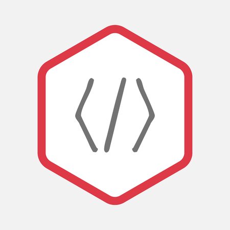 css: Illustration of an isolated line art hexagon with a code sign