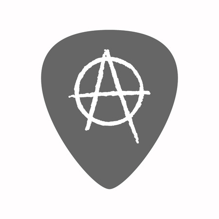 plectrum: Illustration of an isolated guitar plectrum with an anarchy sign Illustration