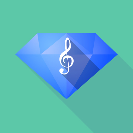 g clef: Illustration of a long shadow diamond with a g clef Illustration