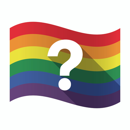 flag: Illustration of an isolated waving Gay Pride flag with a question sign