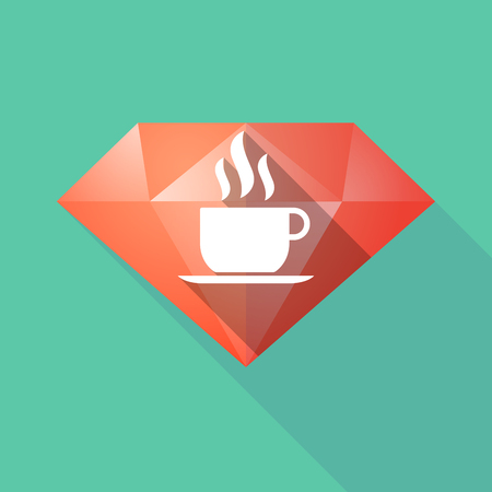 diamond stones: Illustration of a long shadow diamond with a cup of coffee