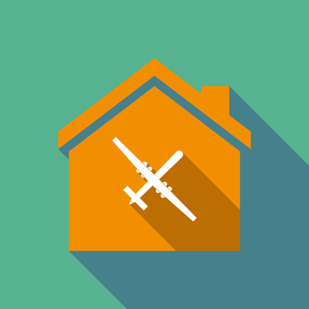 Illustration of a long shadow flat design house with a war drone