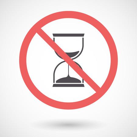 Ilustración de una señal prohibida aislada con un reloj de arena
