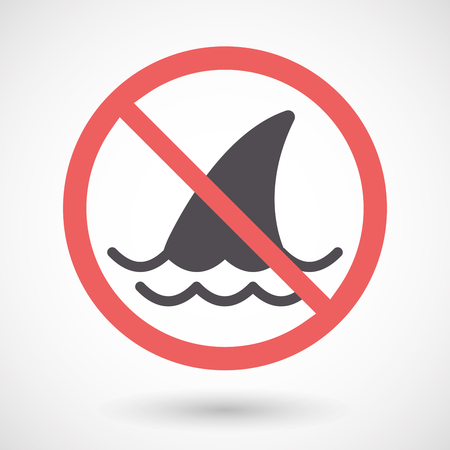 great danger: Illustration of an isolated forbidden signal with a shark fin