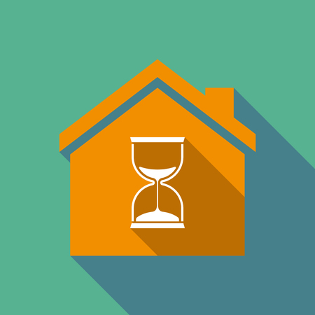 Illustration of a long shadow flat design house with a sand clock Illustration