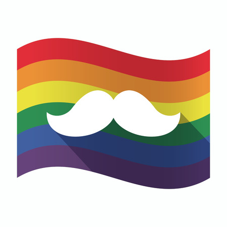 sexual orientation: Illustration of an isolated waving Gay Pride flag with a moustache