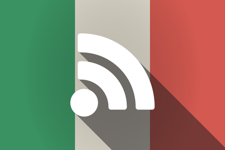 really simple syndication: Illustration of a long shadow Italy flag with an RSS sign