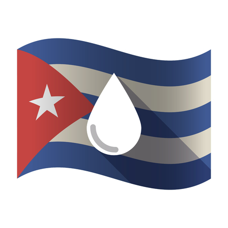 Illustration of an isolated waving Cuba flag with a blood drop