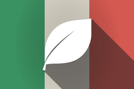 Illustration of a long shadow Italy flag with a leaf