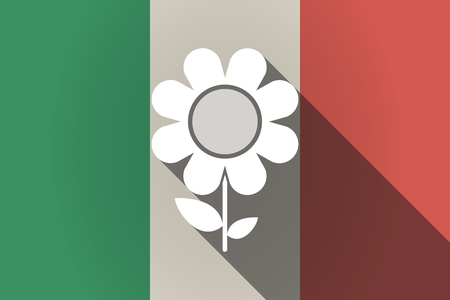 Illustration of a long shadow Italy flag with a flower