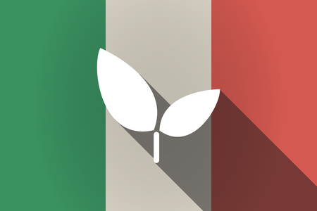 Illustration of a long shadow Italy flag with a plant