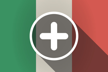 addition: Illustration of a long shadow Italy flag with a sum sign