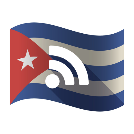 Illustration of an isolated waving Cuba flag with an RSS sign