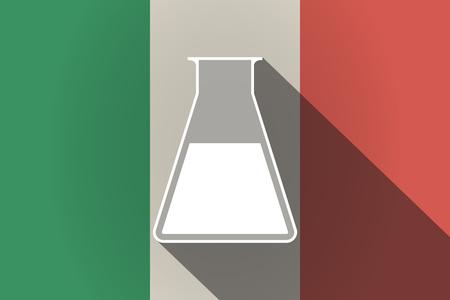 Illustration of a long shadow Italy flag with a flask Ilustração Vetorial