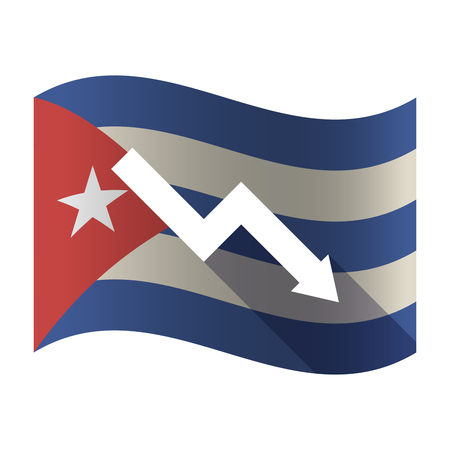 descending: Illustration of an isolated waving Cuba flag with a descending graph Illustration