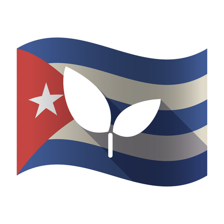 Illustration of an isolated waving Cuba flag with a plant