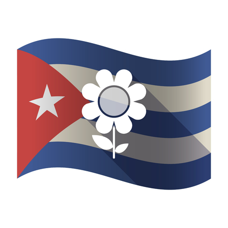 Illustration of an isolated waving Cuba flag with a flower