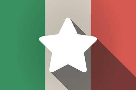 star award: Illustration of a long shadow Italy flag with a star Illustration