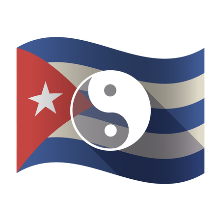 Illustration of an isolated waving Cuba flag with a ying yang