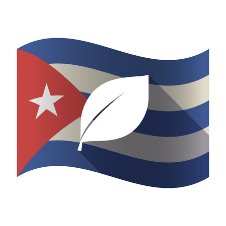 Illustration of an isolated waving Cuba flag with a leaf