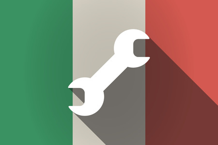 monkey wrench: Illustration of a long shadow Italy flag with a wrench