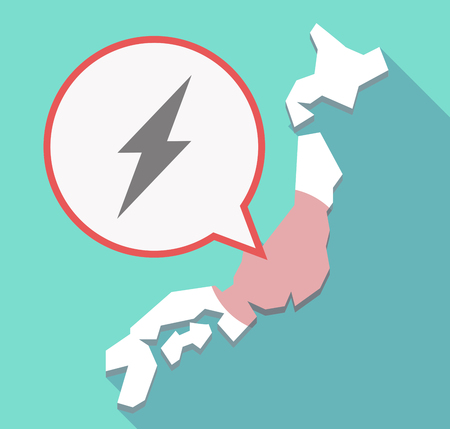 high voltage: Illustration of a long shadow Japan map, its flag and a comic balloon with a lightning