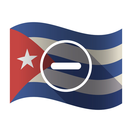 Illustration of an isolated waving Cuba flag with a subtraction sign