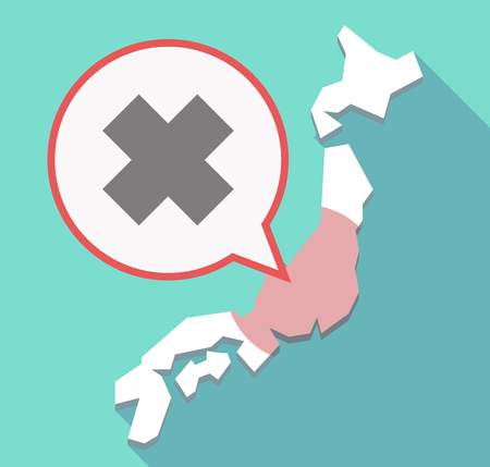 alerting: Illustration of a long shadow Japan map, its flag and a comic balloon with an irritating substance sign Illustration