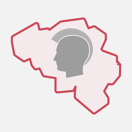Illustration of an isolated line art  Belgium map with  a male punk head silhouette