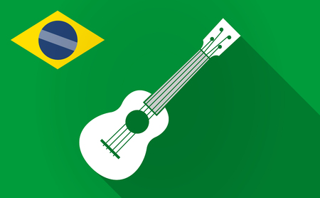 Illustration of a long shadow Brazil map with  an ukulele