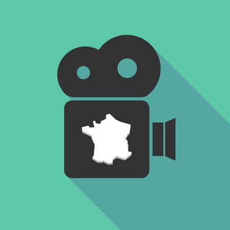 フランスの地図と長い影映画カメラの図  イラスト・ベクター素材