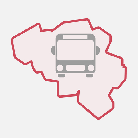 Illustration of an isolated line art  Belgium map with  a bus icon Illustration