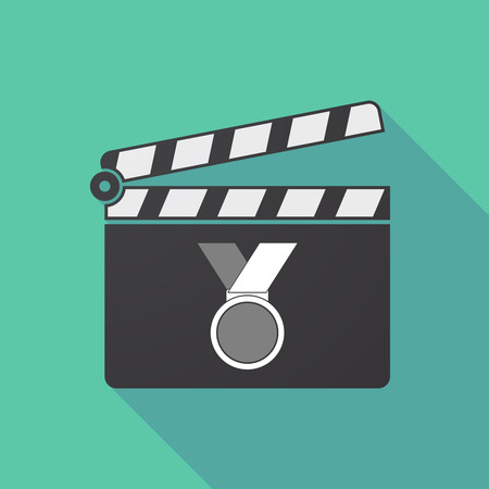 Illustration of a long shadow cinema clapper board with  a medal Illustration