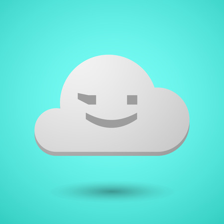 Illustration of a long shadow cloud with  a wink text face emoticon