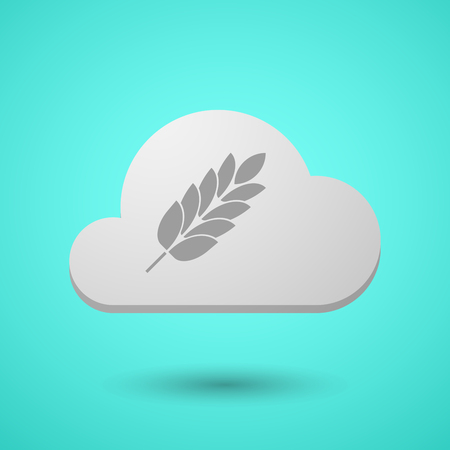 Illustration of a long shadow cloud with  a wheat plant icon
