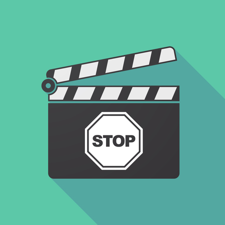 Illustration of a long shadow cinema clapper board with  a stop signal